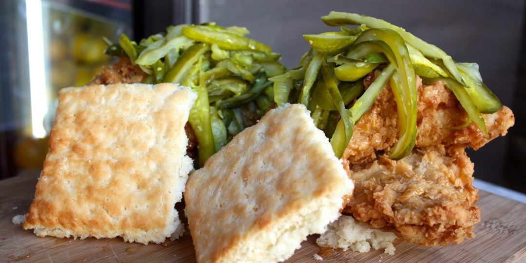 Honey, Chicken and Pickles Southern Biscuit Sandwich